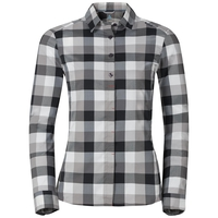 FAIRVIEW-blouse met lange mouwen voor dames, black - odlo concrete grey - white - check, large