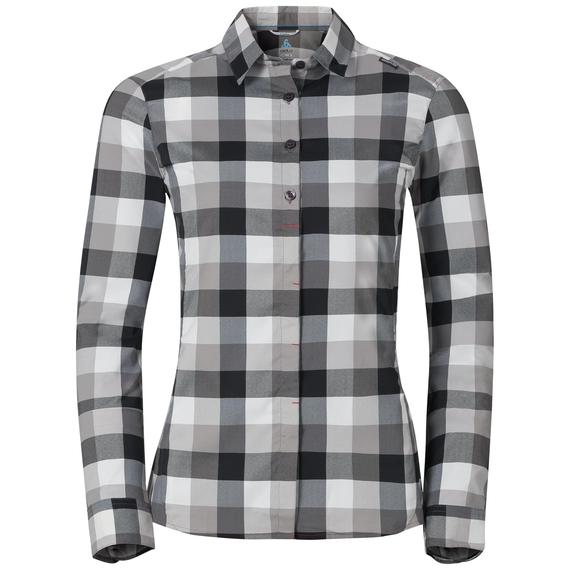 Women's FAIRVIEW Long-Sleeve Blouse, black - odlo concrete grey - white - check, large