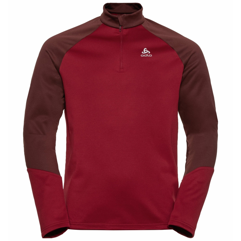 Men's PLANCHES 1/2 Zip Mid Layer, andorra - rio red, large