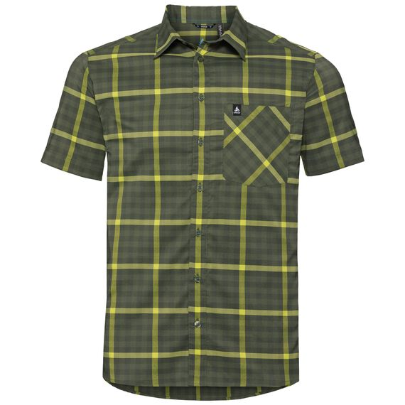 Shirt s/s NIKKO CHECK, four leaf clover - acid lime - climbing ivy - check, large