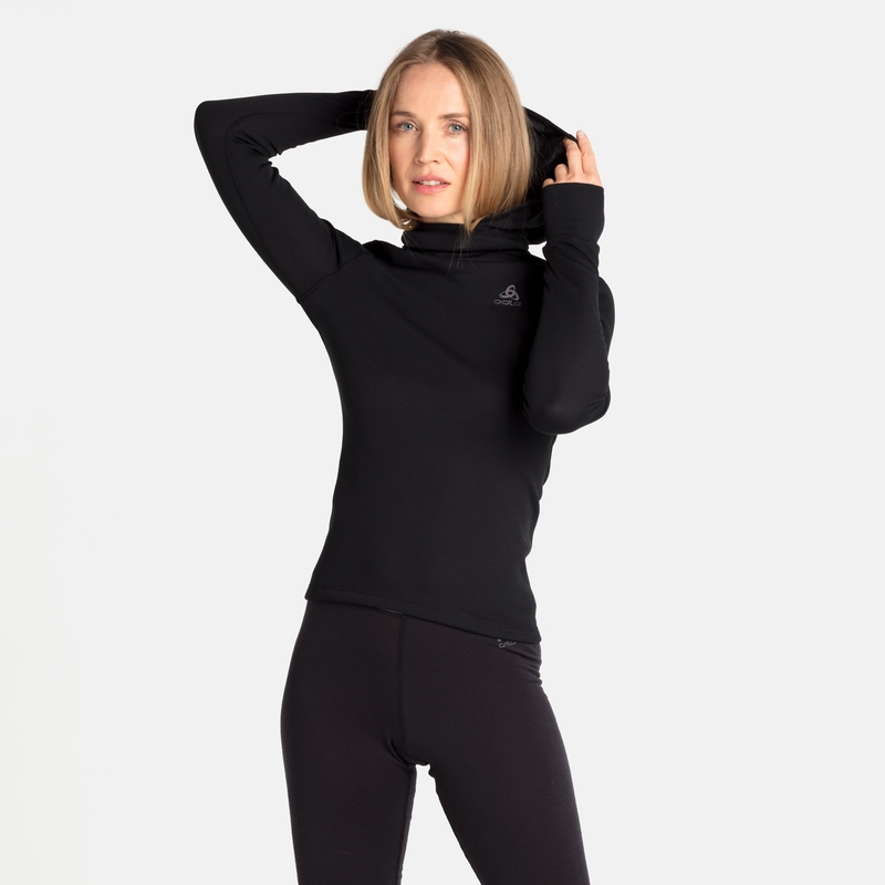Women's ACTIVE WARM ECO Base Layer Top with Facemask, black, large
