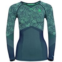 Shirt l/s crew neck Blackcomb EVOLUTION WARM, peacoat - mint leaf - mint leaf, large