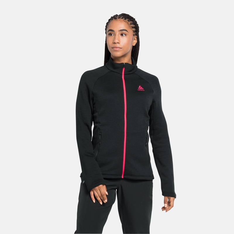 The Berra long sleeve mid layer zip, black, large