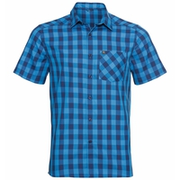 Men's MYTHEN Short-Sleeve Shirt, blue aster - estate blue - check, large
