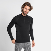 Top a collo alto con mezza zip PERFORMANCE WARM ECO da uomo, grey melange - black, large