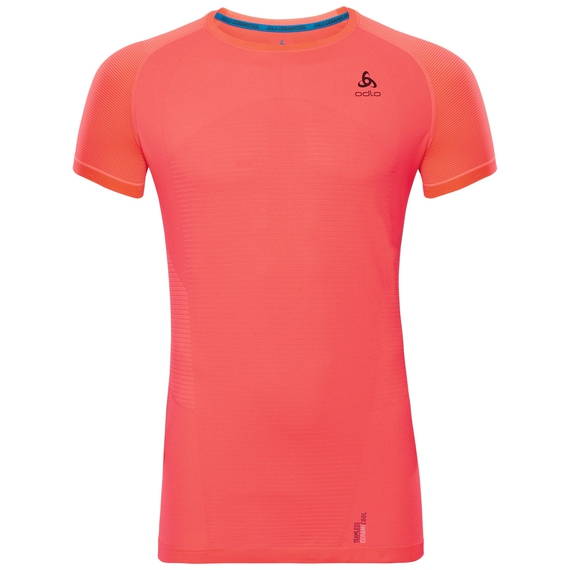 BL Top Crew neck s/s CERAMICOOL MOTION, fiery coral, large