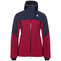 Jacket insulated SLY X, diving navy - rumba red, large