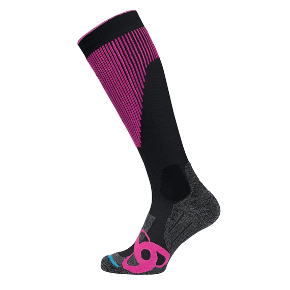 Chaussettes extra hautes SKI MUSCLE FORCE WARM, black - pink glo, large