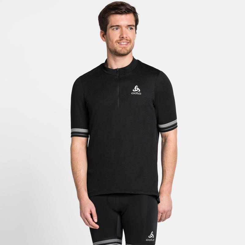 Men's ELEMENT Short-Sleeve 1/2 Zip Cycling Jersey, black, large