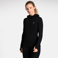 Women's ACTIVE WARM Long-Sleeve Baselayer Top with Face Mask, black, large