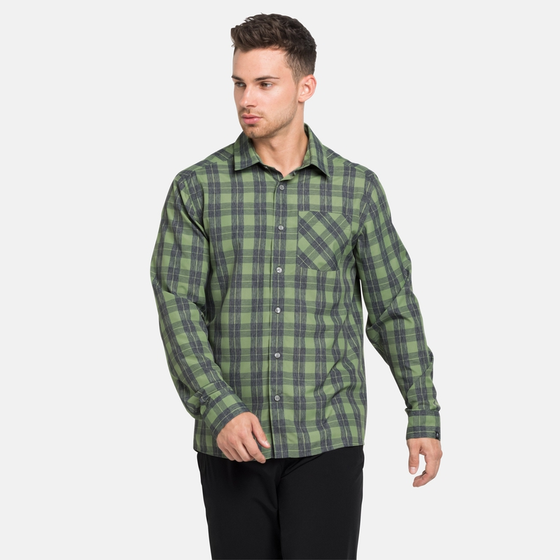 Men's MYTHEN Long-Sleeve Shirt, green eyes - grey melange - check, large