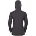 Veste intermédiaire ½ zippé à capuche BLAZE CERAMIWARM pour femme, black - odlo graphite grey - stripes, large