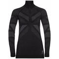 Women's NATURAL + KINSHIP WARM Half-Zip Turtleneck Base Layer Top, black melange, large