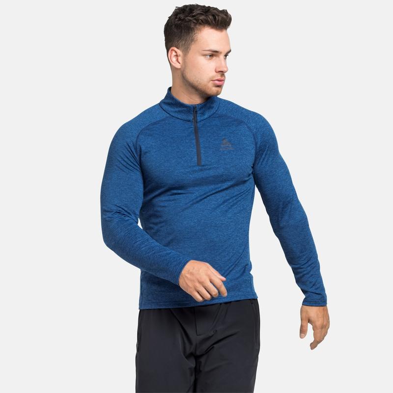 The Sesvenna mid layer half zip, estate blue melange, large