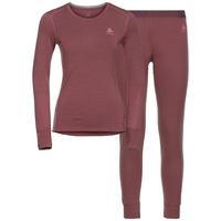 Ensemble de sous-vêtements techniques longs NATURAL 100% MERINO WARM pour femme, roan rouge - grey melange, large