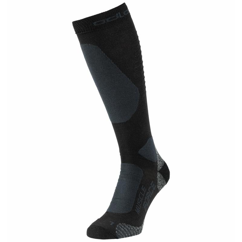 The PRIMALOFT Muscle Force warm compression sock, black - odlo graphite grey, large