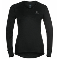 Women's ACTIVE WARM ECO V-Neck Baselayer Top, black, large