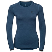 Damen NATURAL 100% MERINO WARM Sportunterwäsche Langarm-Shirt, blue wing teal - grey melange, large