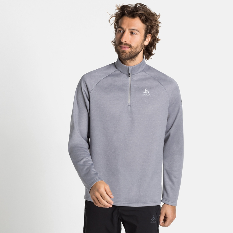 Men's PILLON 1/2 Zip Mid Layer, grey melange, large