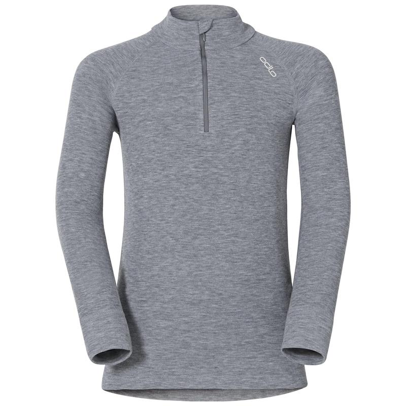 ACTIVE WARM KIDS Funktionsunterwäsche Langarm-Shirt mit 1/2 Reißverschluss & Stehkragen, grey melange, large