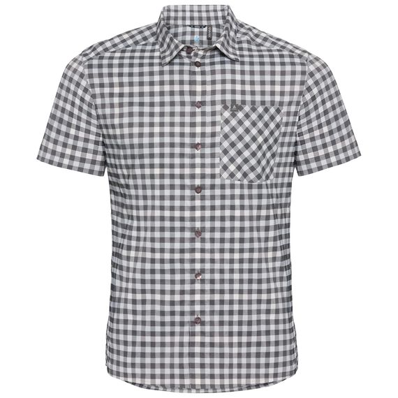 Shirt NIKKO CHECK, odlo silver grey - odlo steel grey - snow white - check, large
