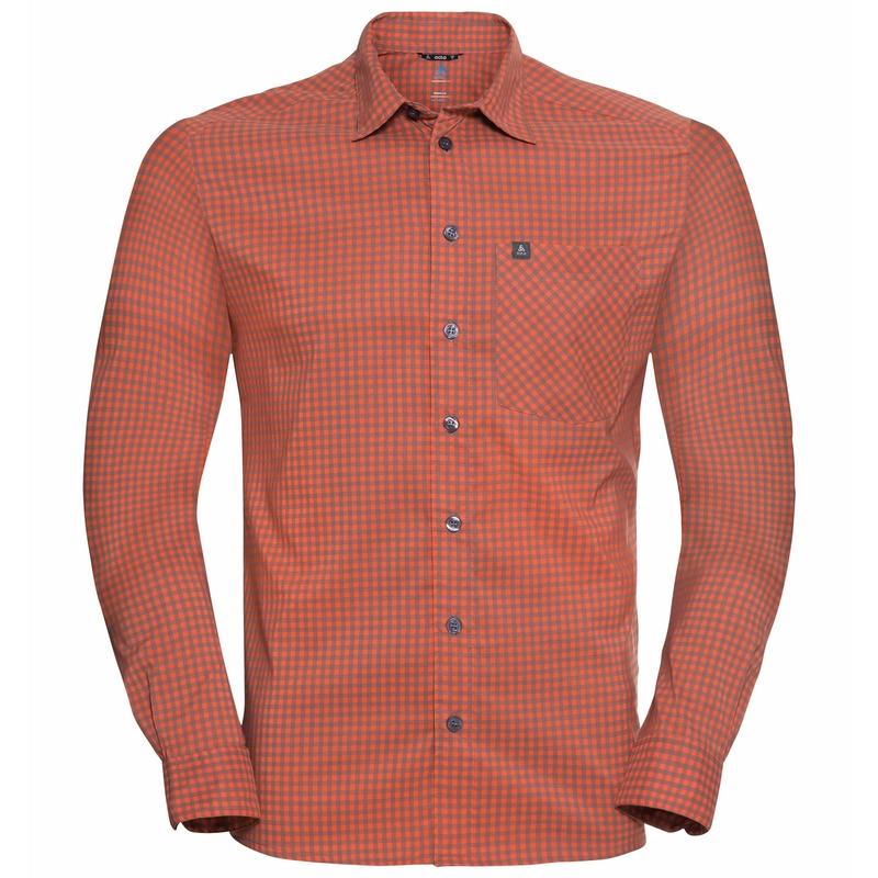 Men's NIKKO CHECK Long-Sleeve Shirt, mandarin red - china blue - check, large