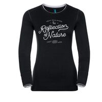 Shirt l/s crew neck NATURAL 100% MERINO PRINT WARM, black - snow white, large