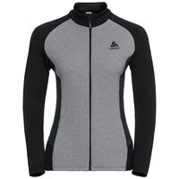Midlayer full zip SNOWBIRD, grey melange - black - odlo graphite grey, large