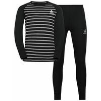 ACTIVE WARM ECO KIDS Baselayer Set, black - grey melange - stripes FW19, large