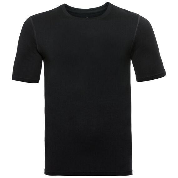 Natural 100 Merino Warm baselayer shirt short sleeve men, black, large