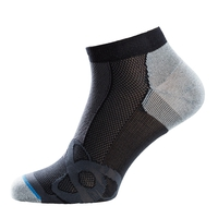 Kurze LIGHT Socken, black - grey melange, large