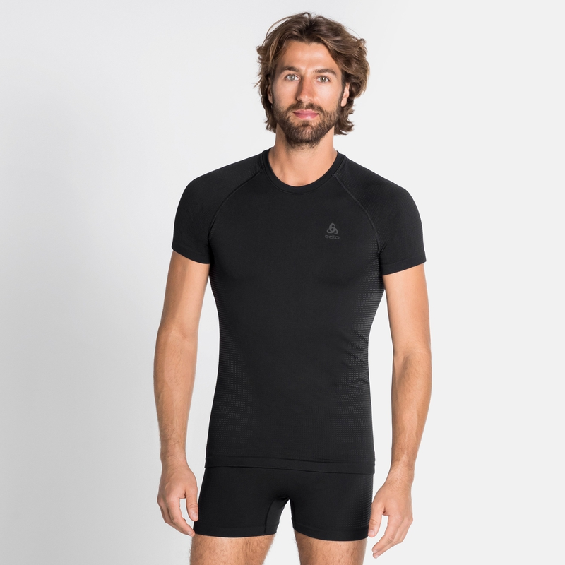 Men's PERFORMANCE WARM ECO Base Layer T-Shirt, black - odlo graphite grey, large