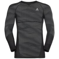 SUW Top PERFORMANCE BLACKCOMB langärmeliges Oberteil mit Rundhalsausschnitt, black - odlo concrete grey - silver, large