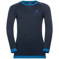 SUW Top PERFORMANCE Warm KIDS langärmeliges Oberteil mit Rundhalsausschnitt, diving navy - energy blue, large