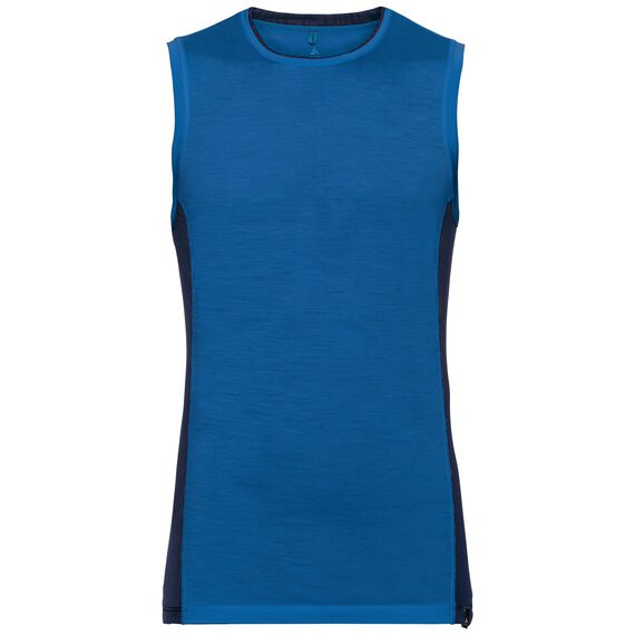 SUW TOP Crew neck Singlet NATURAL + CERAMIWOOL LIGHT, energy blue, large