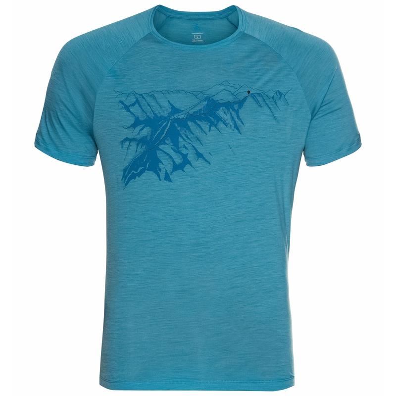 Men's CONCORD T-Shirt, horizon blue - mountain graphic SS21, large
