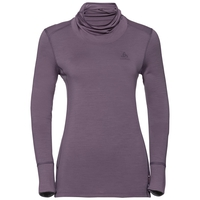 Women's NATURAL 100% MERINO WARM Turtle-Neck Long-Sleeve Base Layer Top, vintage violet - grey melange, large