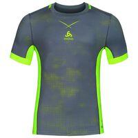 Ceramicool pro baselayer shirt with print men, odlo steel grey - safety yellow, large