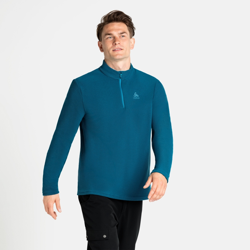 Men's ROY 1/2 Zip Mid Layer, deep dive - stunning blue - stripes, large