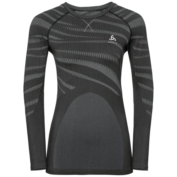 SVS top col ras du cou manches longues Performance Blackcomb, black - odlo concrete grey, large