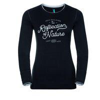 Shirt l/s crew neck NATURAL 100% MERINO PRINT WARM, black - snow white, large