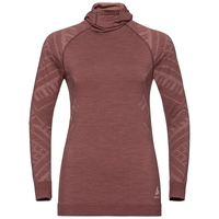 Women's NATURAL + KINSHIP WARM Base Layer Top with Face Mask, roan rouge melange, large