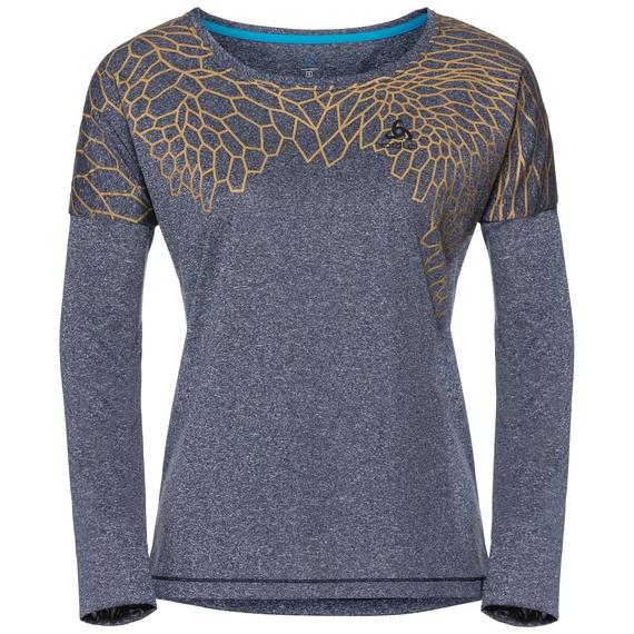 T-shirt l/s HELLE, diving navy melange - placed print SS18, large
