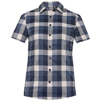 KUMANO CHECK Bluse, diving navy - crystal gray - blue indigo - check, large