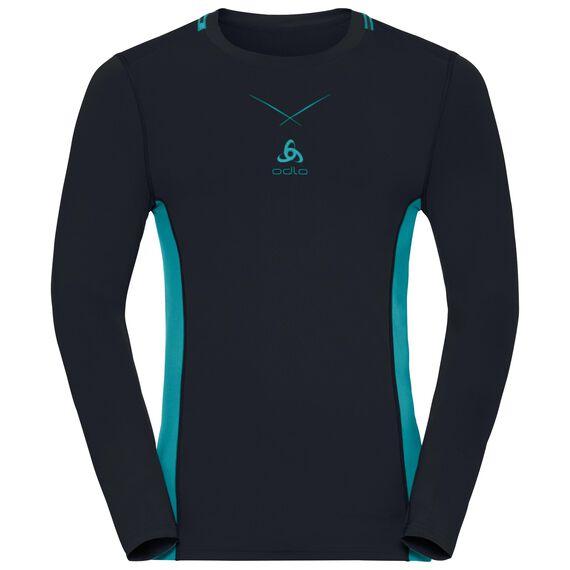Ceramicool pro baselayer shirt longsleeve men, black - lake blue, large