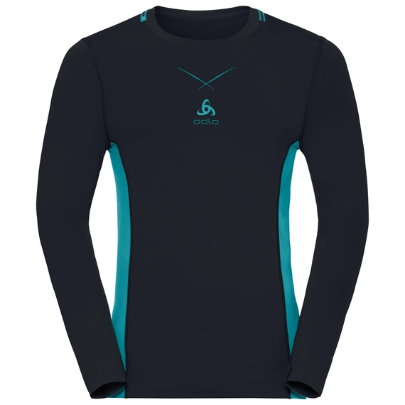 Ceramicool pro baselayer shirt longsleeve men, black - lake blue, large