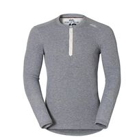 Shirt l/s crew neck Vallée Blanche WARM, grey melange, large