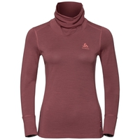 Women's NATURAL 100% MERINO WARM Turtle-Neck Long-Sleeve Base Layer Top, roan rouge - grey melange, large