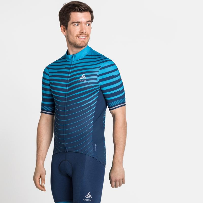 ZEROWEIGHT CERAMICOOL-fietsshirt met volledige rits en korte mouwen voor heren, blue aster - estate blue, large