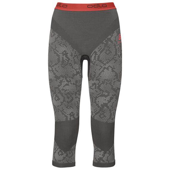 Pants 3/4 Blackcomb EVOLUTION WARM, black - odlo concrete grey - hot coral, large